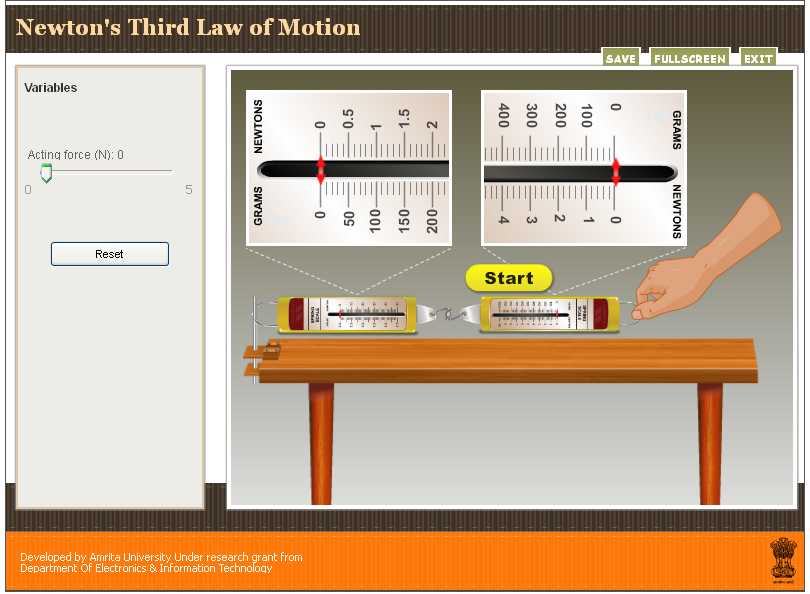 Third Law of Motion (Simulator) : Physics : Class 9 : Amrita